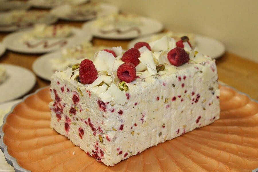 Italian Market Semifreddo with White Chocolate, Raspberry and Pistachio Recipe